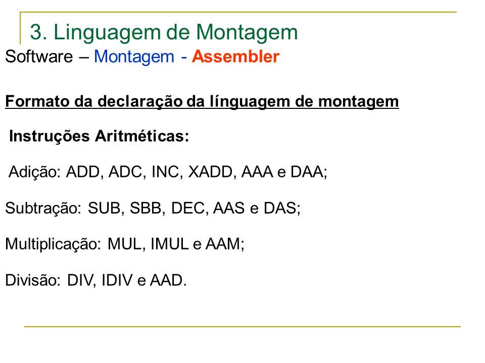3. Linguagem de Montagem Software – Montagem - Assembler Formato da declaração da línguagem de montagem Instruções Aritméticas: Adição: ADD, ADC, INC,