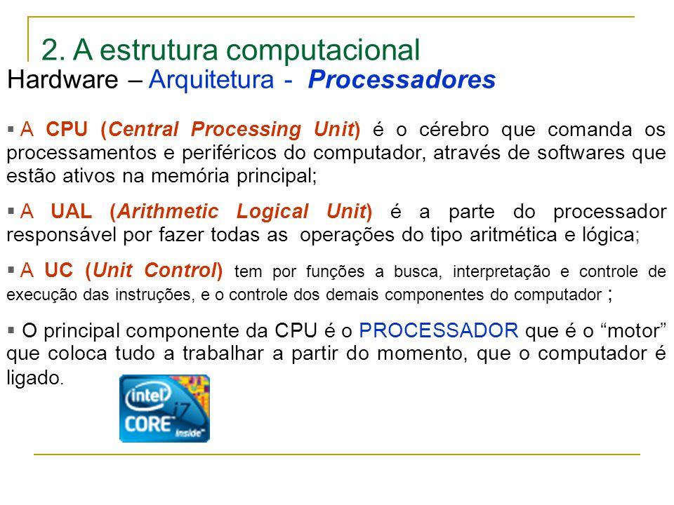 2. A estrutura computacional  A CPU (Central Processing Unit) é o cérebro que comanda os processamentos e periféricos do computador, através de softw