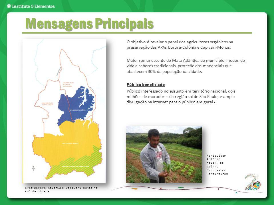O objetivo é revelar o papel dos agricultores orgânicos na preservação das APAs Bororé-Colônia e Capivari-Monos. Maior remanescente de Mata Atlântica