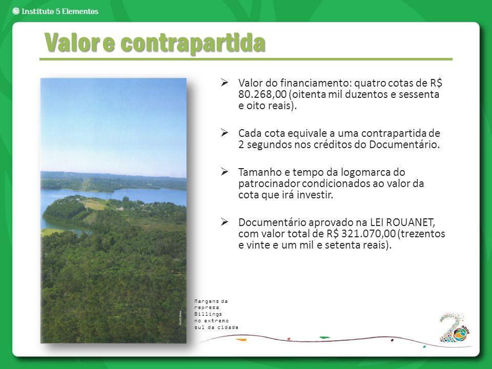  Valor do financiamento: quatro cotas de R$ 80.268,00 (oitenta mil duzentos e sessenta e oito reais).  Cada cota equivale a uma contrapartida de 2 s