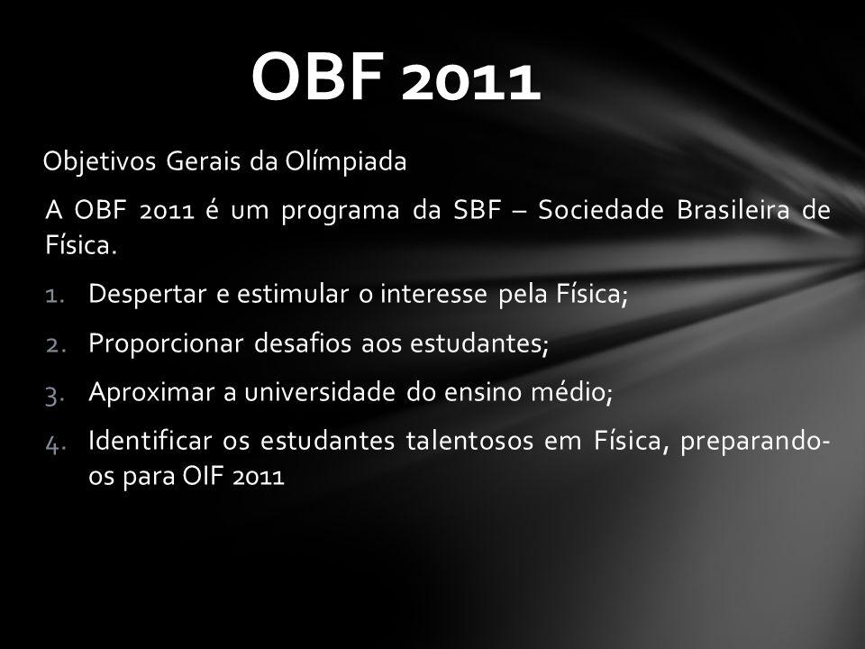Objetivos Gerais da Olímpiada A OBF 2011 é um programa da SBF – Sociedade Brasileira de Física. 1.Despertar e estimular o interesse pela Física; 2.Pro