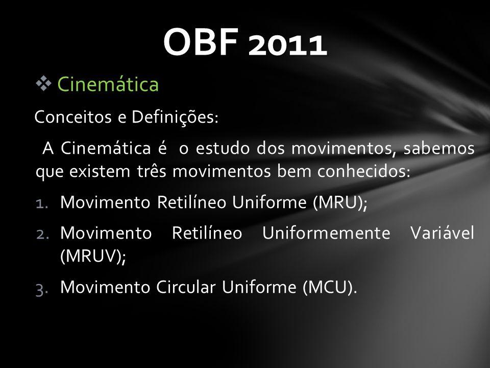  Cinemática Conceitos e Definições: A Cinemática é o estudo dos movimentos, sabemos que existem três movimentos bem conhecidos: 1.Movimento Retilíneo