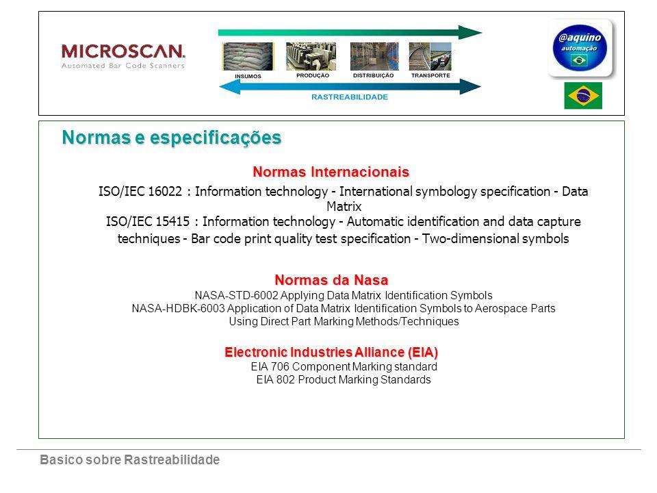 Basico sobre Rastreabilidade Normas Internacionais ISO/IEC 16022 : Information technology - International symbology specification - Data Matrix ISO/IE
