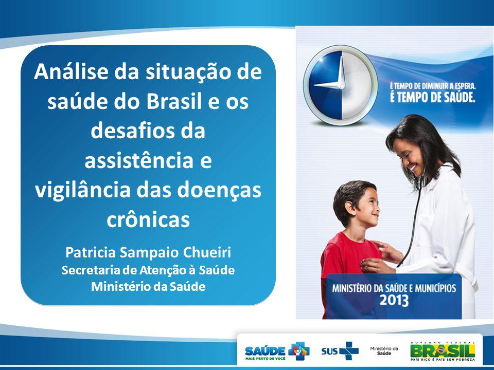 Análise da situação de saúde do Brasil e os desafios da assistência e vigilância das doenças crônicas Patricia Sampaio Chueiri Secretaria de Atenção à