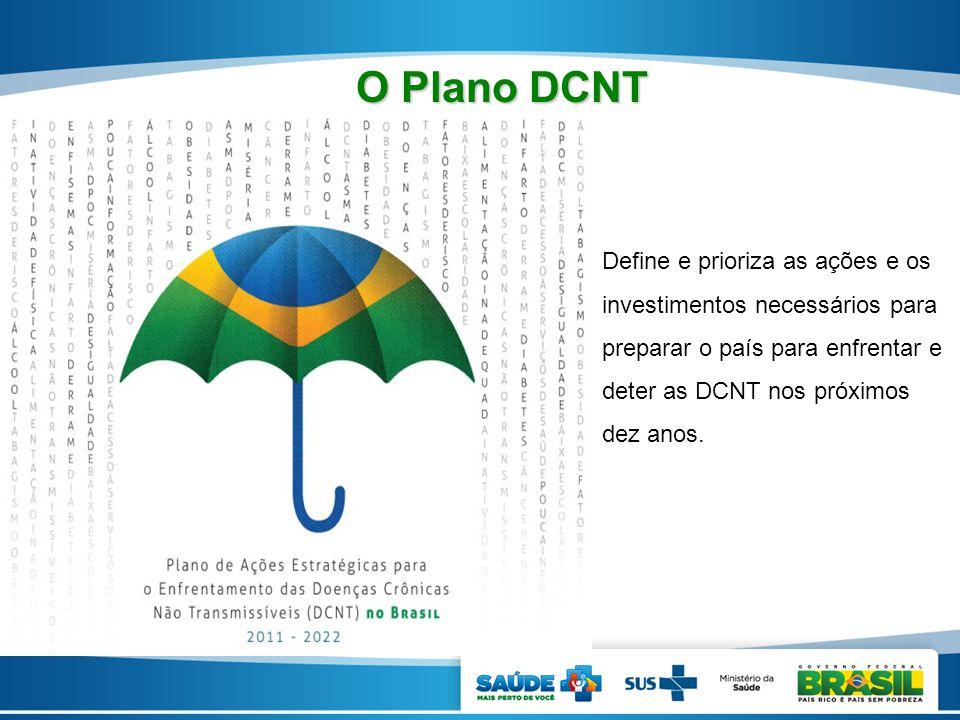 Define e prioriza as ações e os investimentos necessários para preparar o país para enfrentar e deter as DCNT nos próximos dez anos. O Plano DCNT O Pl