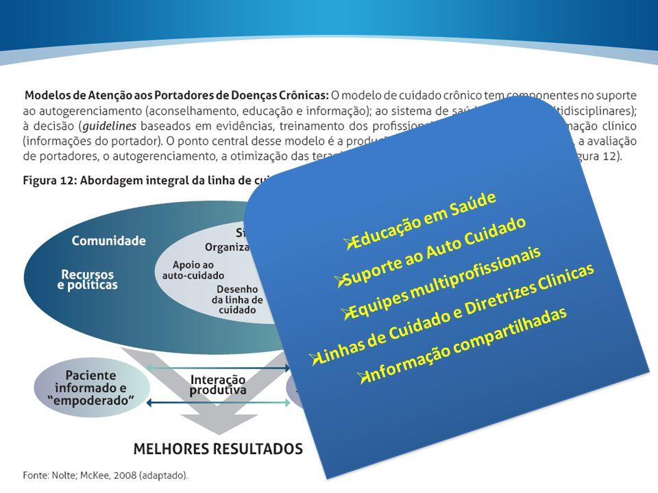  Educação em Saúde  Suporte ao Auto Cuidado  Equipes multiprofissionais  Linhas de Cuidado e Diretrizes Clinicas  Informação compartilhadas  Edu