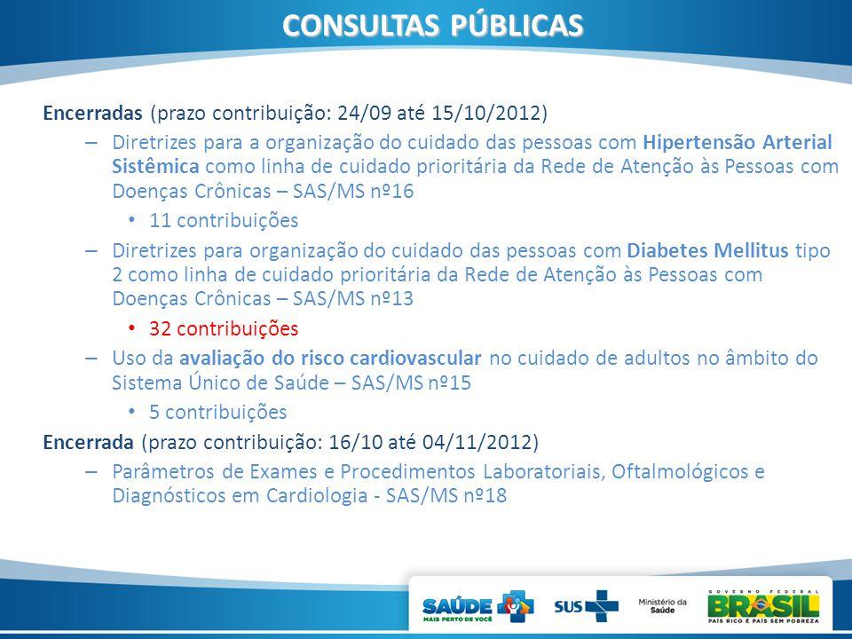 CONSULTAS PÚBLICAS Encerradas (prazo contribuição: 24/09 até 15/10/2012) – Diretrizes para a organização do cuidado das pessoas com Hipertensão Arteri