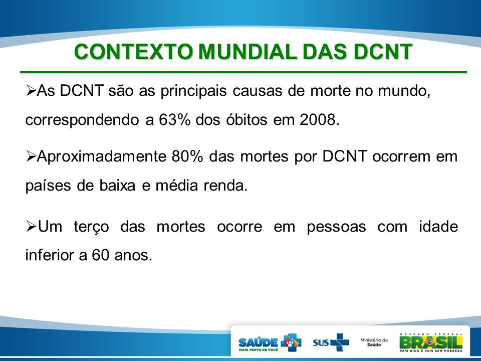  As DCNT são as principais causas de morte no mundo, correspondendo a 63% dos óbitos em 2008.  Aproximadamente 80% das mortes por DCNT ocorrem em pa