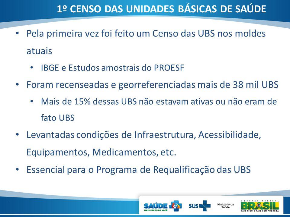 . Pela primeira vez foi feito um Censo das UBS nos moldes atuais IBGE e Estudos amostrais do PROESF Foram recenseadas e georreferenciadas mais de 38 m