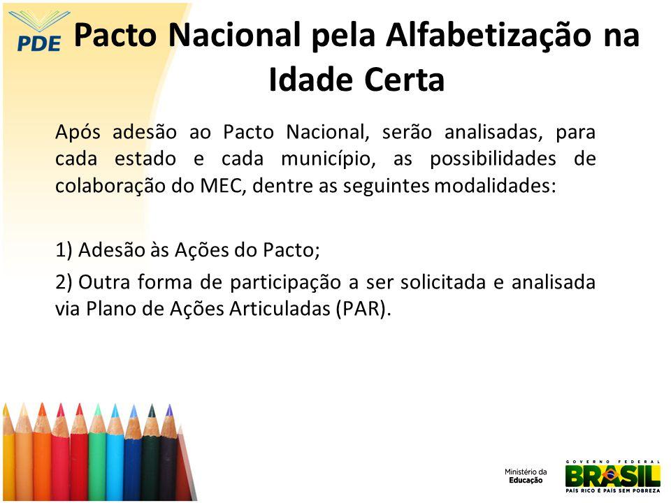Após adesão ao Pacto Nacional, serão analisadas, para cada estado e cada município, as possibilidades de colaboração do MEC, dentre as seguintes modal