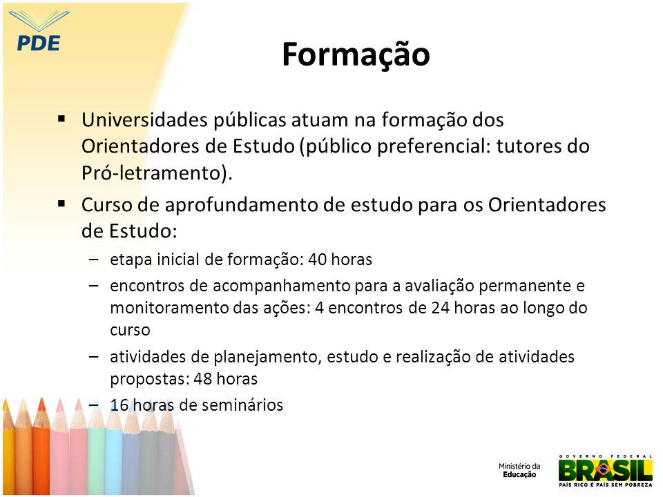 Formação  Universidades públicas atuam na formação dos Orientadores de Estudo (público preferencial: tutores do Pró-letramento).  Curso de aprofunda