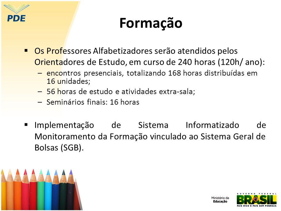 Os Professores Alfabetizadores serão atendidos pelos Orientadores de Estudo, em curso de 240 horas (120h/ ano): –encontros presenciais, totalizando