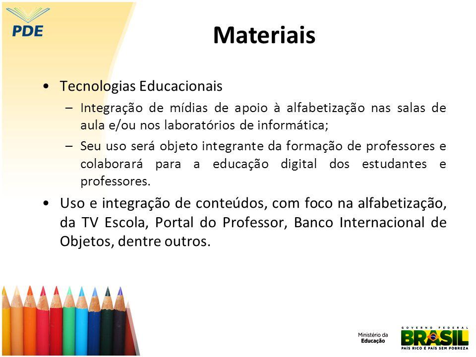 Tecnologias Educacionais –Integração de mídias de apoio à alfabetização nas salas de aula e/ou nos laboratórios de informática; –Seu uso será objeto i