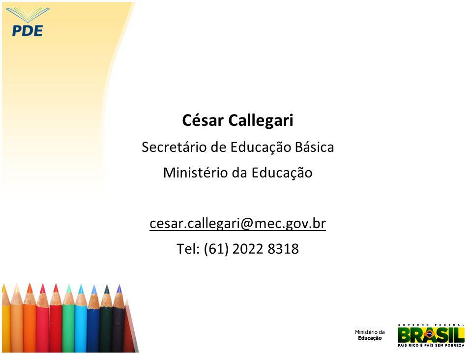 César Callegari Secretário de Educação Básica Ministério da Educação cesar.callegari@mec.gov.br Tel: (61) 2022 8318