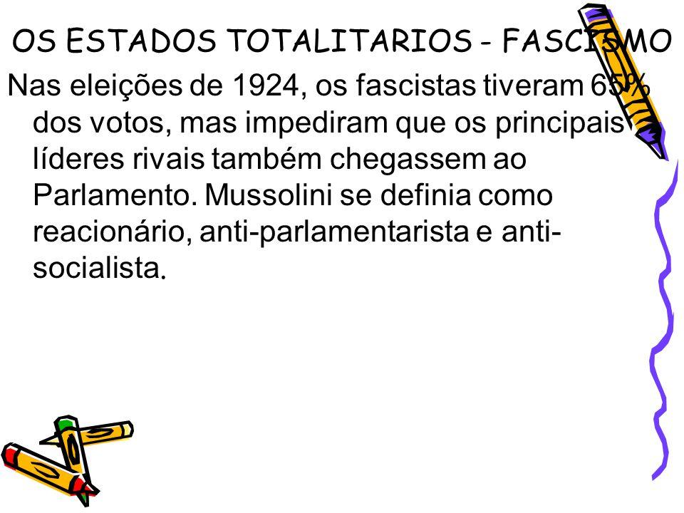 OS ESTADOS TOTALITARIOS - FASCISMO Nas eleições de 1924, os fascistas tiveram 65% dos votos, mas impediram que os principais líderes rivais também che