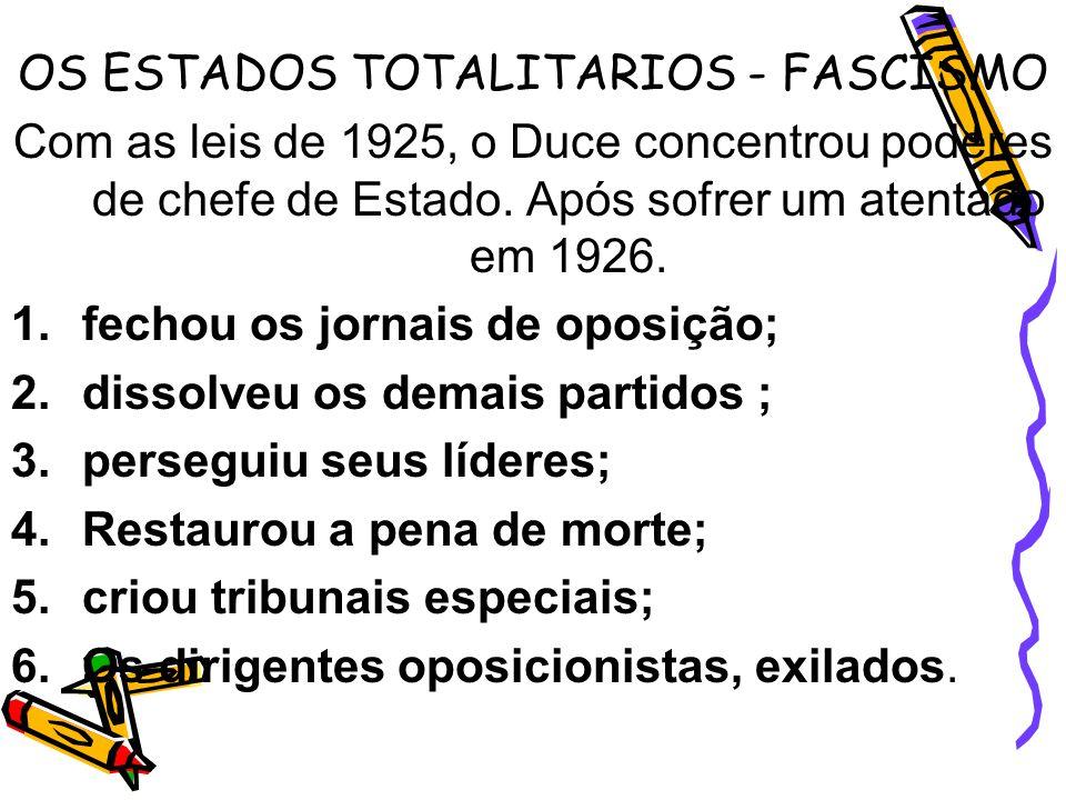 OS ESTADOS TOTALITARIOS - FASCISMO Com as leis de 1925, o Duce concentrou poderes de chefe de Estado. Após sofrer um atentado em 1926. 1.fechou os jor