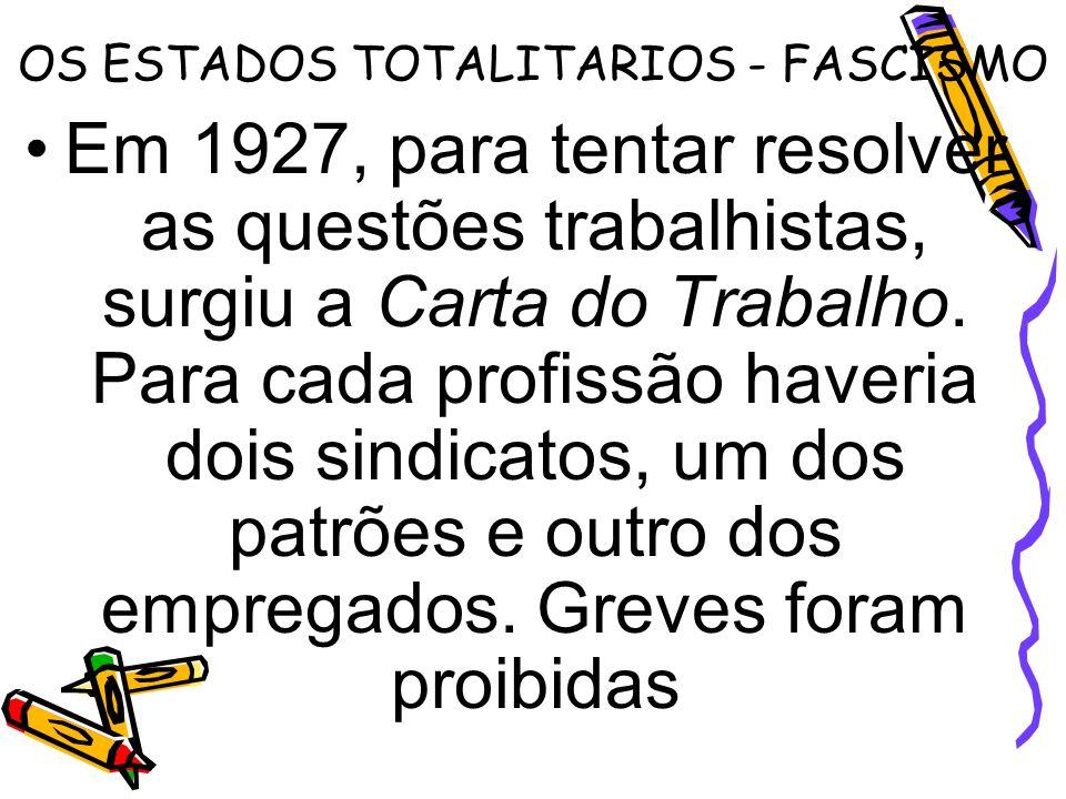 OS ESTADOS TOTALITARIOS - FASCISMO Em 1927, para tentar resolver as questões trabalhistas, surgiu a Carta do Trabalho. Para cada profissão haveria doi