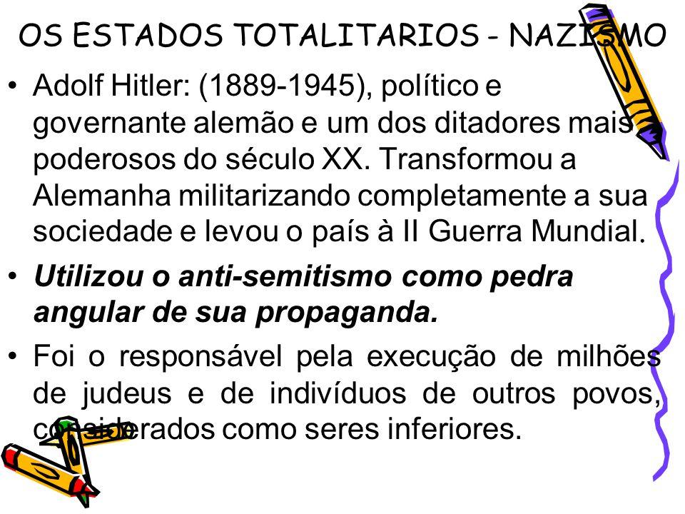 OS ESTADOS TOTALITARIOS - NAZISMO Adolf Hitler: (1889-1945), político e governante alemão e um dos ditadores mais poderosos do século XX. Transformou
