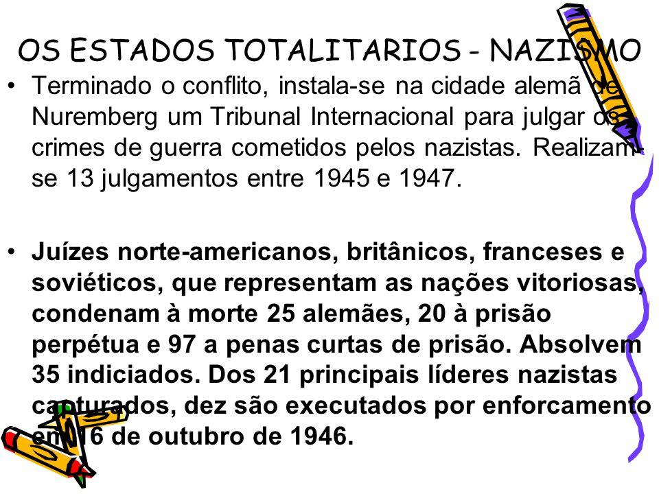 OS ESTADOS TOTALITARIOS - NAZISMO Terminado o conflito, instala-se na cidade alemã de Nuremberg um Tribunal Internacional para julgar os crimes de gue