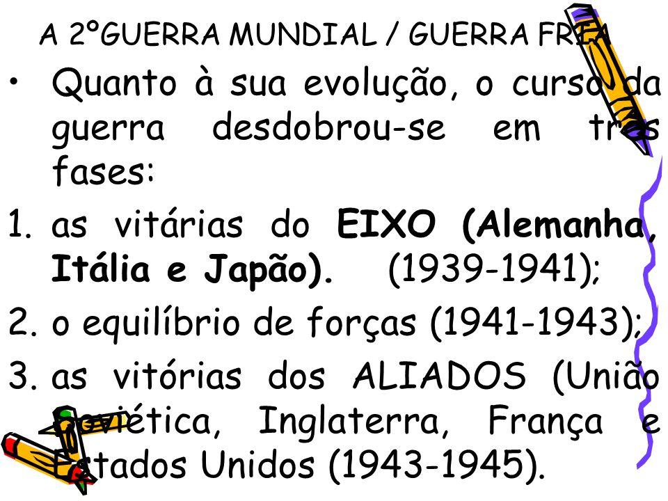 A 2ºGUERRA MUNDIAL / GUERRA FRIA Quanto à sua evolução, o curso da guerra desdobrou-se em três fases: 1.as vitárias do EIXO (Alemanha, Itália e Japão)