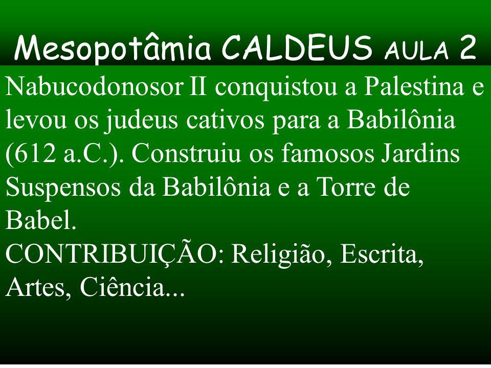 Mesopotâmia CALDEUS AULA 2 Nabucodonosor II conquistou a Palestina e levou os judeus cativos para a Babilônia (612 a.C.). Construiu os famosos Jardins