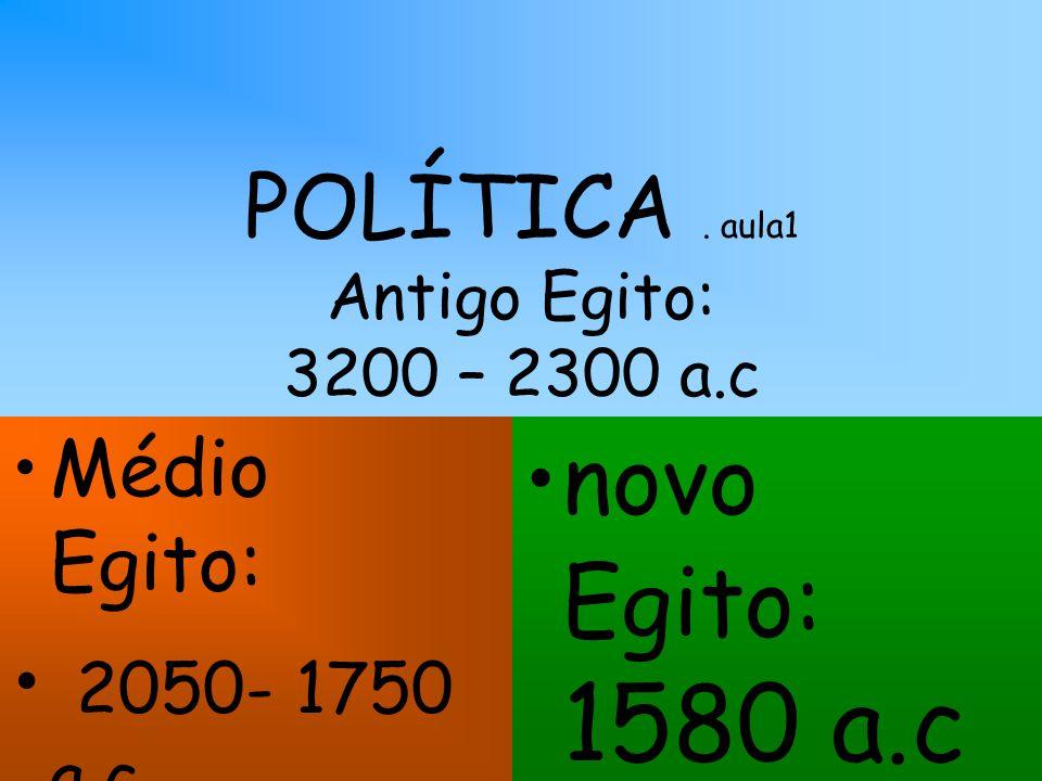 POLÍTICA. aula1 Antigo Egito: 3200 – 2300 a.c Médio Egito: 2050- 1750 a.c novo Egito: 1580 a.c