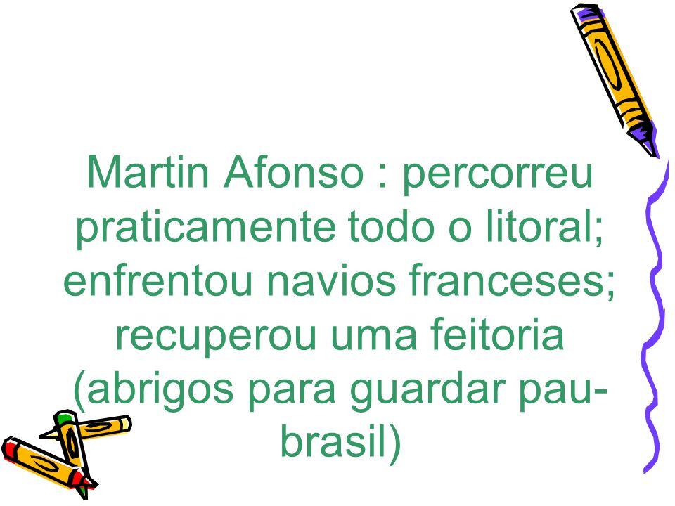 Martin Afonso : percorreu praticamente todo o litoral; enfrentou navios franceses; recuperou uma feitoria (abrigos para guardar pau- brasil)