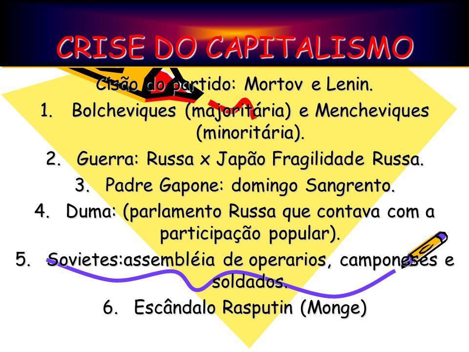 CRISE DO CAPITALISMO Cisão do partido: Mortov e Lenin. 1.Bolcheviques (majoritária) e Mencheviques (minoritária). 2.Guerra: Russa x Japão Fragilidade