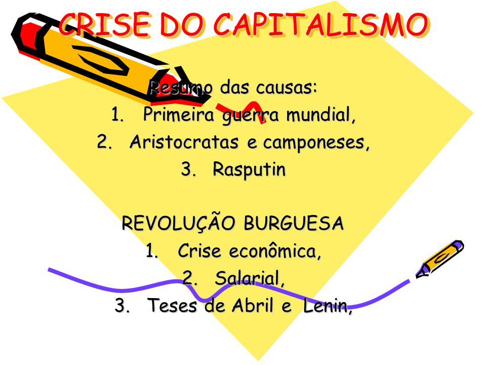 CRISE DO CAPITALISMO Resumo das causas: 1.Primeira guerra mundial, 2.Aristocratas e camponeses, 3.Rasputin REVOLUÇÃO BURGUESA 1.Crise econômica, 2.Sal