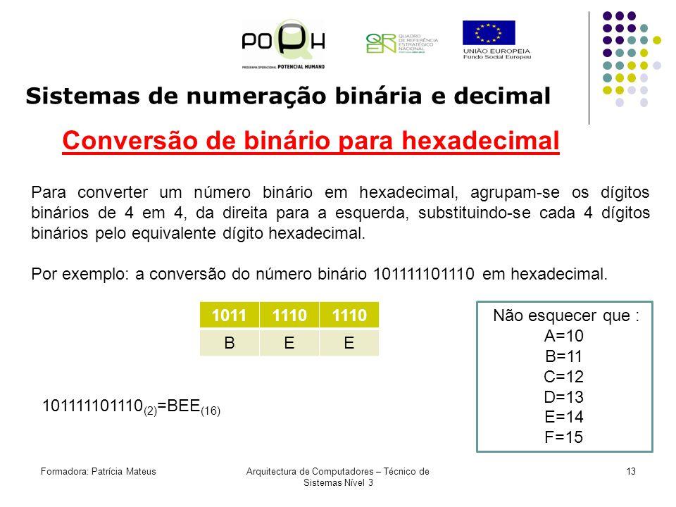 Formadora: Patrícia MateusArquitectura de Computadores – Técnico de Sistemas Nível 3 12 Sistemas de numeração binária e decimal Conversão de binário p