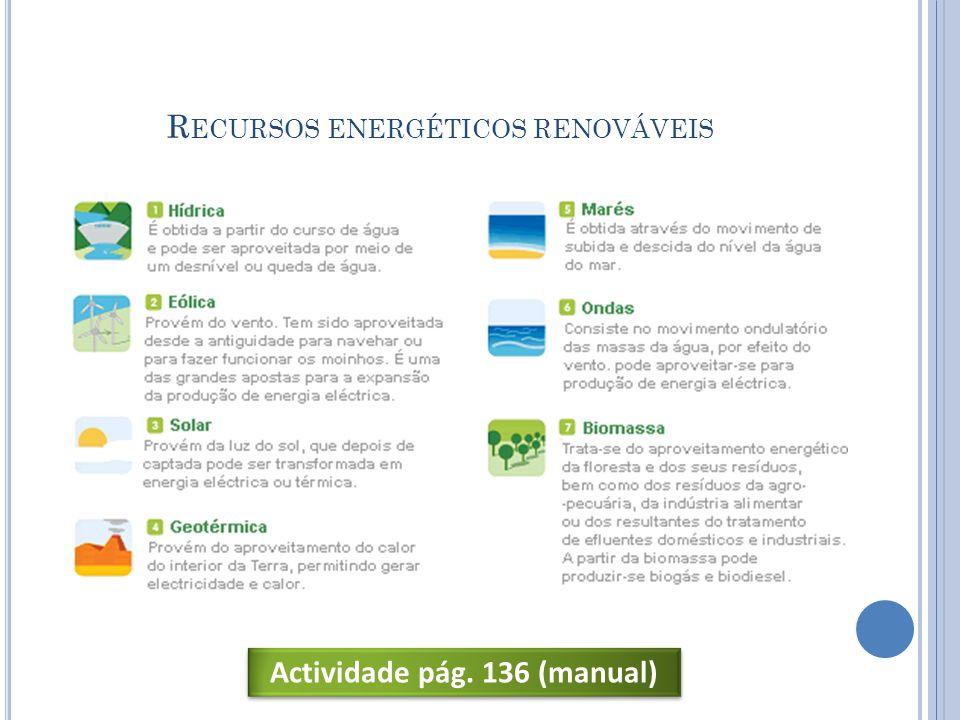 R ECURSOS ENERGÉTICOS RENOVÁVEIS Actividade pág. 136 (manual)