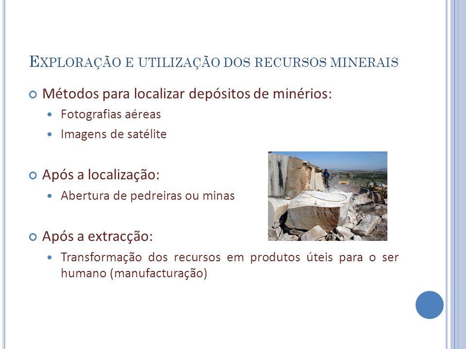 E XPLORAÇÃO E UTILIZAÇÃO DOS RECURSOS MINERAIS Métodos para localizar depósitos de minérios: Fotografias aéreas Imagens de satélite Após a localização