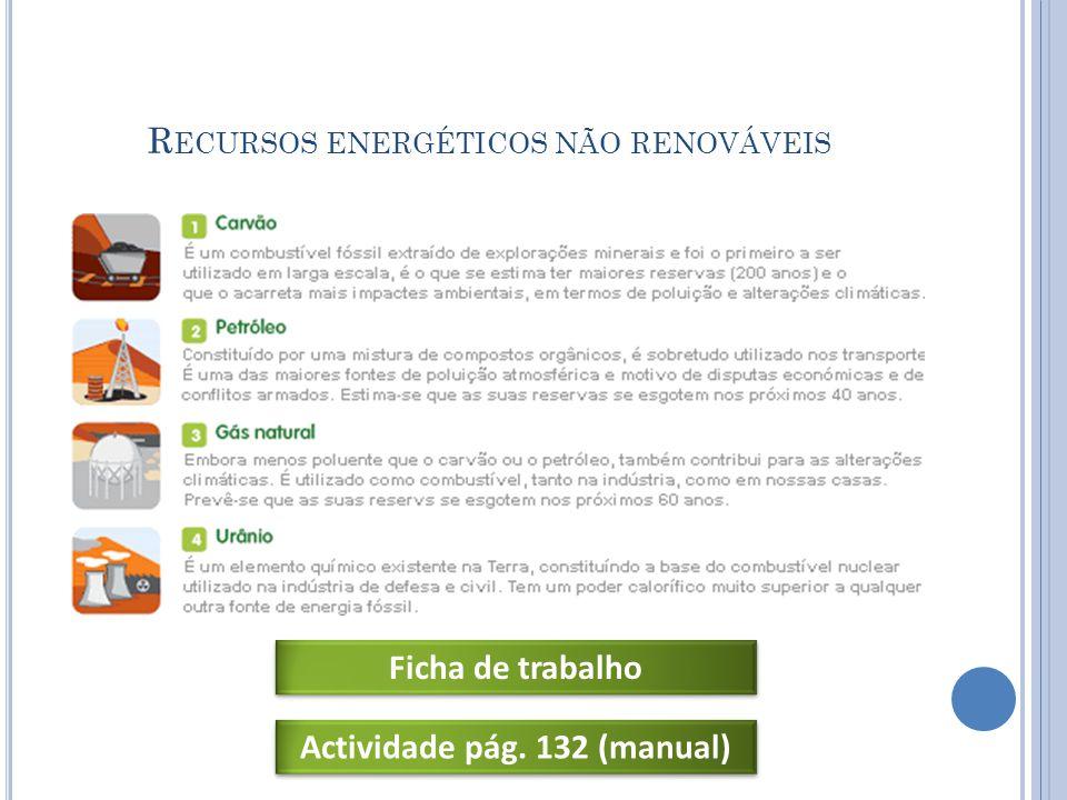 R ECURSOS ENERGÉTICOS NÃO RENOVÁVEIS Ficha de trabalho Actividade pág. 132 (manual)