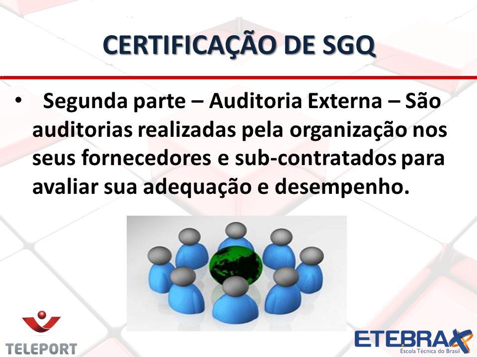 CERTIFICAÇÃO DE SGQ Segunda parte – Auditoria Externa – São auditorias realizadas pela organização nos seus fornecedores e sub-contratados para avalia