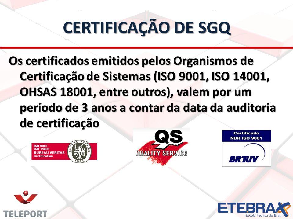 CERTIFICAÇÃO DE SGQ Os certificados emitidos pelos Organismos de Certificação de Sistemas (ISO 9001, ISO 14001, OHSAS 18001, entre outros), valem por