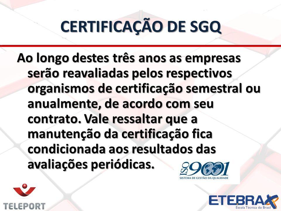 CERTIFICAÇÃO DE SGQ Ao longo destes três anos as empresas serão reavaliadas pelos respectivos organismos de certificação semestral ou anualmente, de a