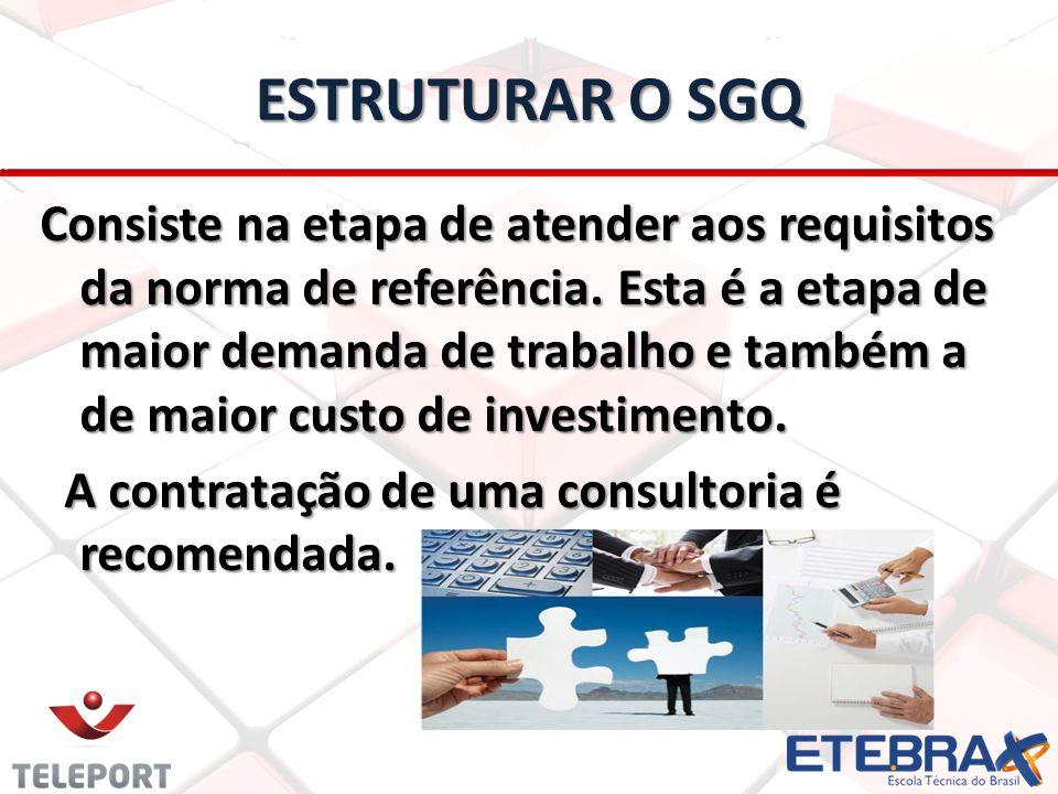 ESTRUTURAR O SGQ Consiste na etapa de atender aos requisitos da norma de referência. Esta é a etapa de maior demanda de trabalho e também a de maior c