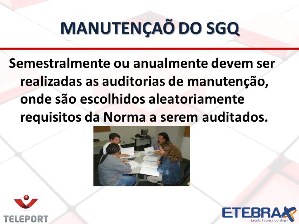 MANUTENÇAÕ DO SGQ Semestralmente ou anualmente devem ser realizadas as auditorias de manutenção, onde são escolhidos aleatoriamente requisitos da Norm