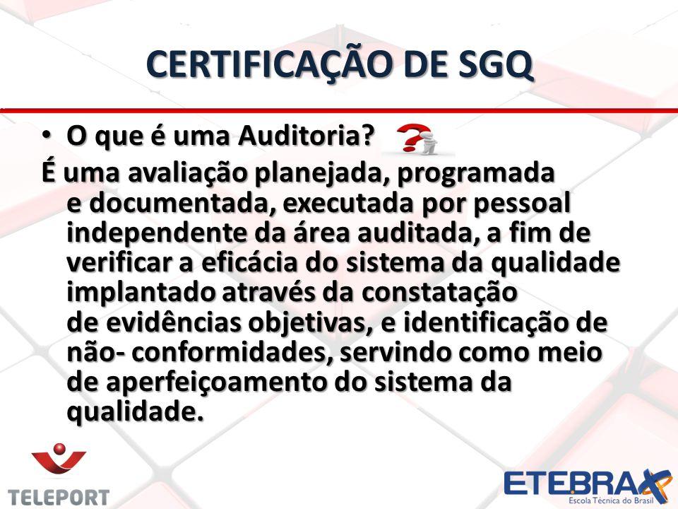 CERTIFICAÇÃO DE SGQ O que é uma Auditoria? O que é uma Auditoria? É uma avaliação planejada, programada e documentada, executada por pessoal independe