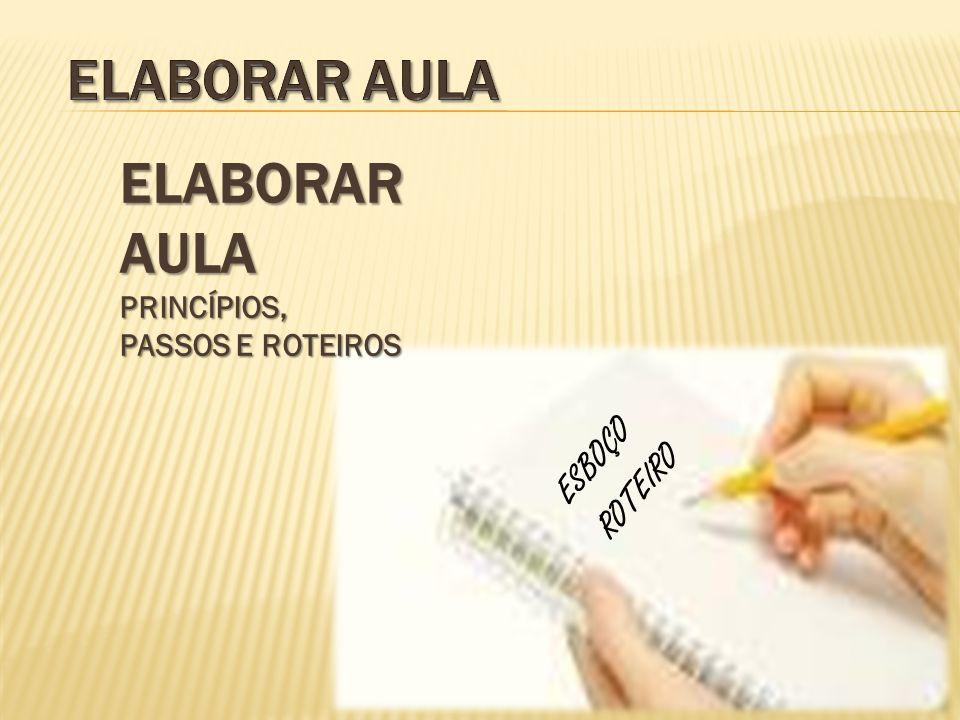 ELABORAR AULA PRINCÍPIOS, PASSOS E ROTEIROS ESBOÇO ROTEIRO