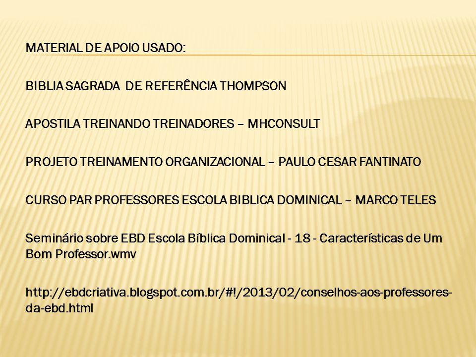 MATERIAL DE APOIO USADO: BIBLIA SAGRADA DE REFERÊNCIA THOMPSON APOSTILA TREINANDO TREINADORES – MHCONSULT PROJETO TREINAMENTO ORGANIZACIONAL – PAULO C