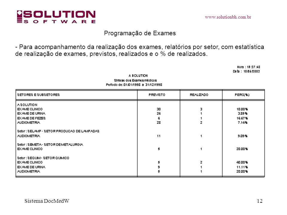 www.solutionbh.com.br Sistema DocMedW12 Programação de Exames - Para acompanhamento da realização dos exames, relatórios por setor, com estatística de