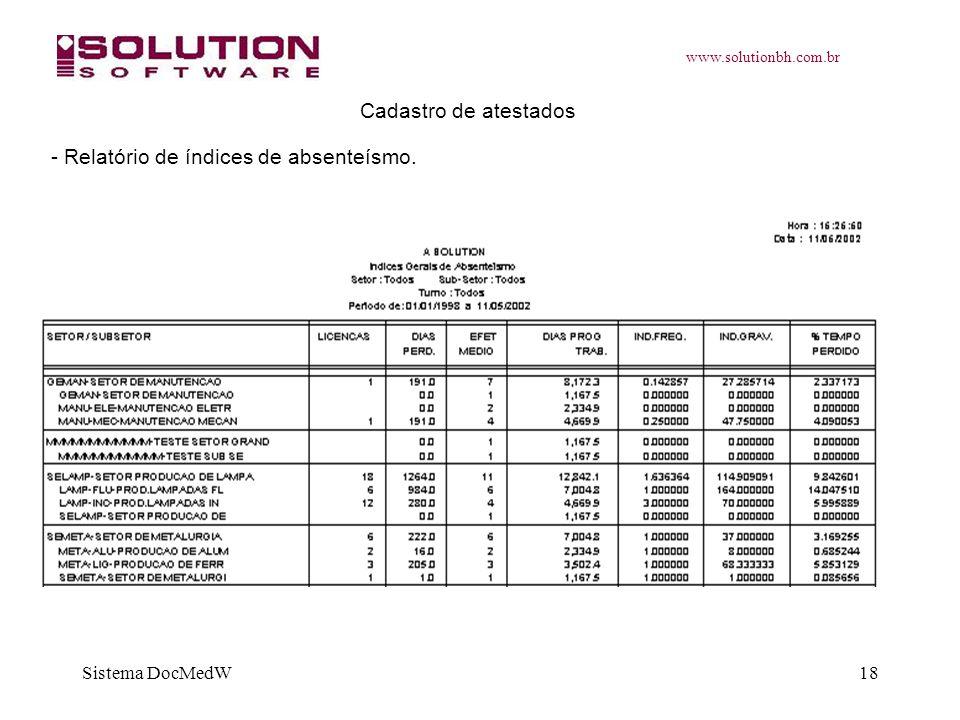 www.solutionbh.com.br Sistema DocMedW18 Cadastro de atestados - Relatório de índices de absenteísmo.