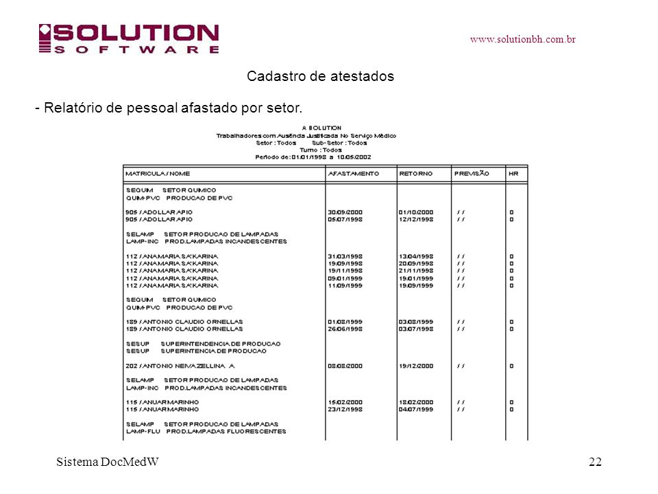 www.solutionbh.com.br Sistema DocMedW22 Cadastro de atestados - Relatório de pessoal afastado por setor.