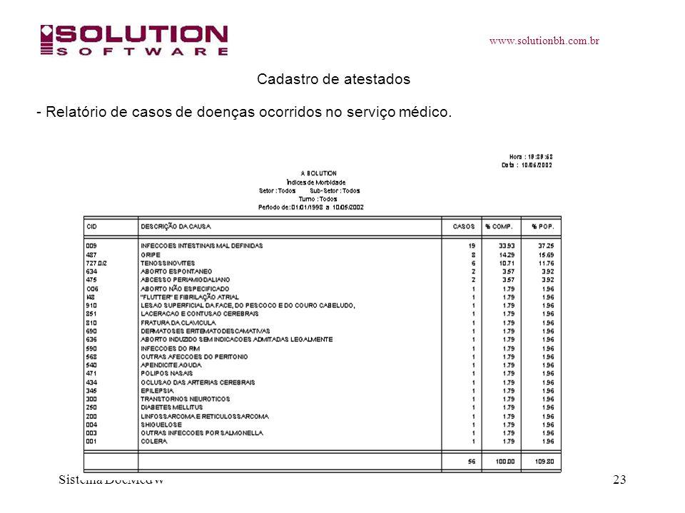 www.solutionbh.com.br Sistema DocMedW23 Cadastro de atestados - Relatório de casos de doenças ocorridos no serviço médico.