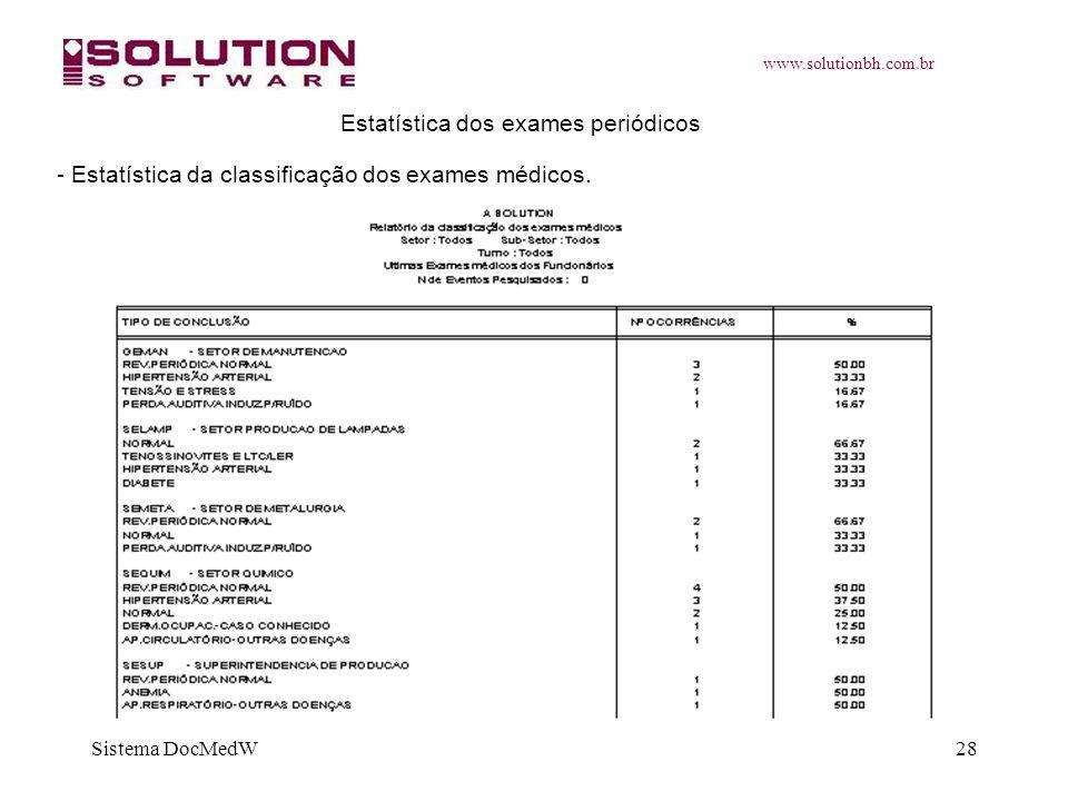 www.solutionbh.com.br Sistema DocMedW28 Estatística dos exames periódicos - Estatística da classificação dos exames médicos.
