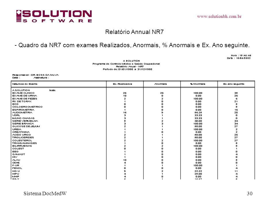 www.solutionbh.com.br Sistema DocMedW30 Relatório Annual NR7 - Quadro da NR7 com exames Realizados, Anormais, % Anormais e Ex. Ano seguinte.