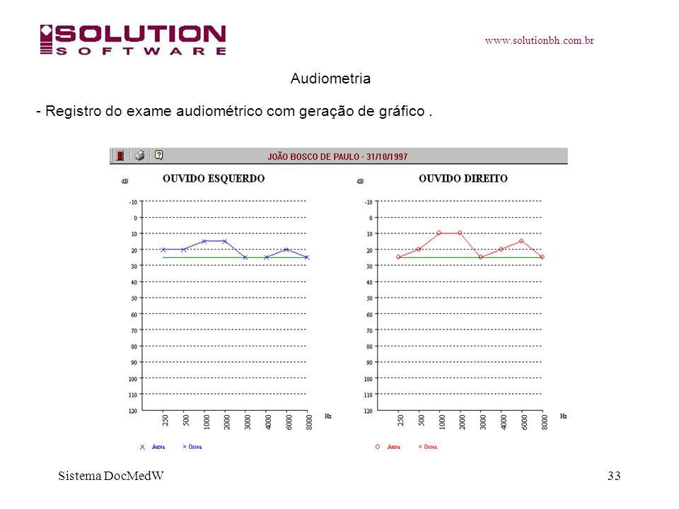 www.solutionbh.com.br Sistema DocMedW33 Audiometria - Registro do exame audiométrico com geração de gráfico.