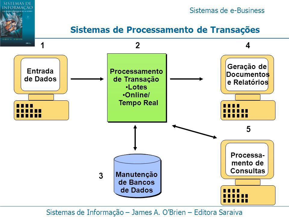 Sistemas de e-Business Sistemas de Informação – James A. O'Brien – Editora Saraiva Sistemas de Processamento de Transações Manutenção de Bancos de Dad