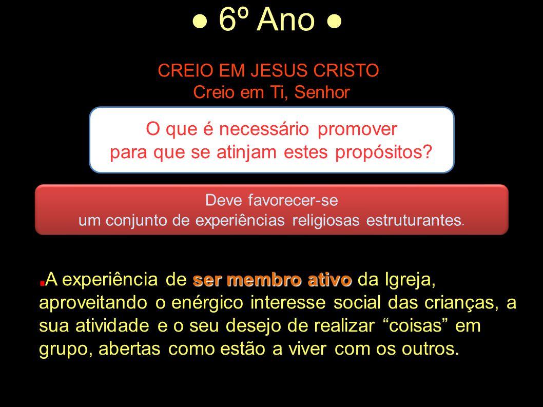 ● 6º Ano ● CREIO EM JESUS CRISTO Creio em Ti, Senhor O que é necessário promover para que se atinjam estes propósitos? Deve favorecer-se um conjunto d